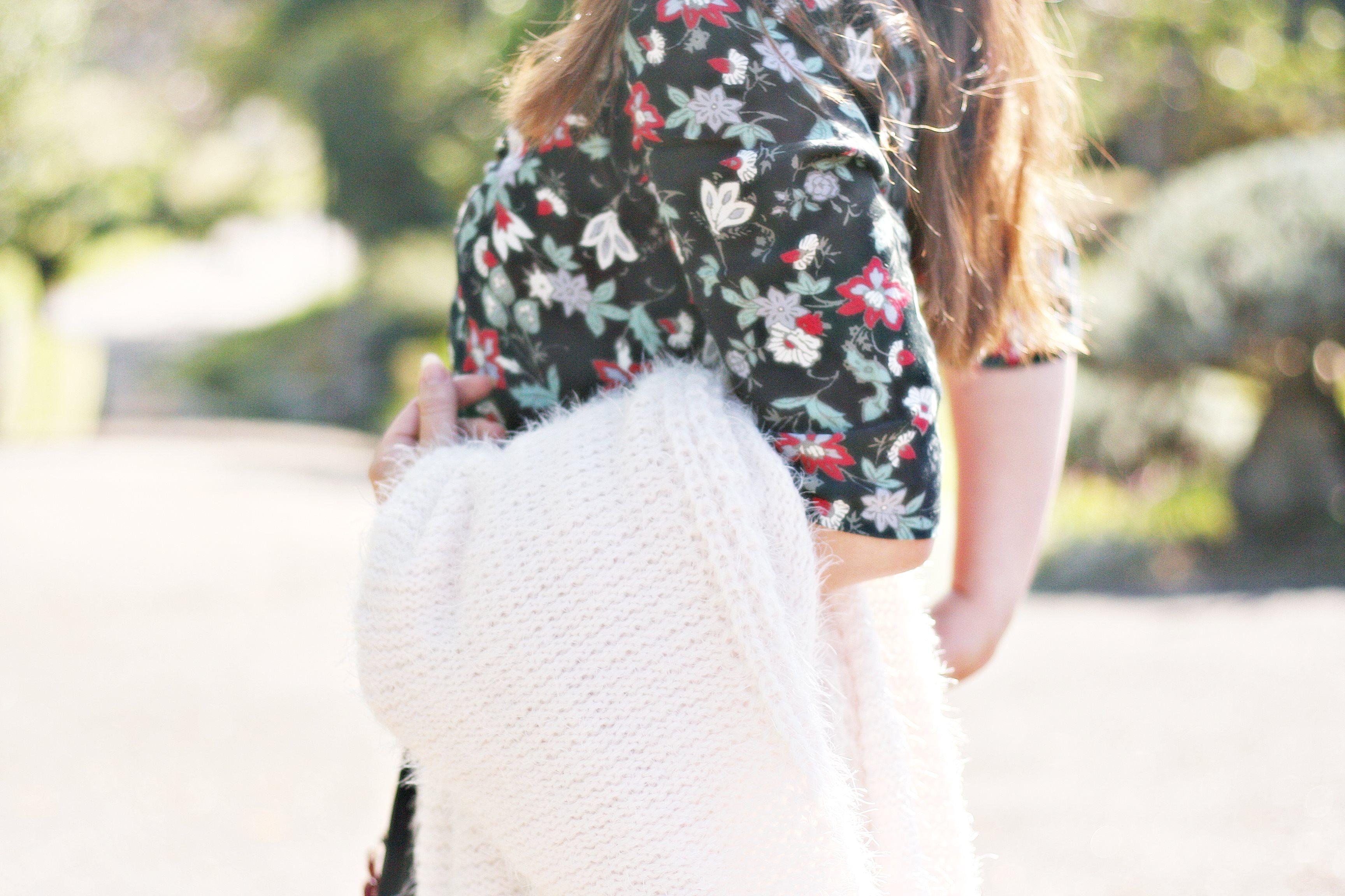 street style comptoir des cotonnier jupe cuir sac longchamp