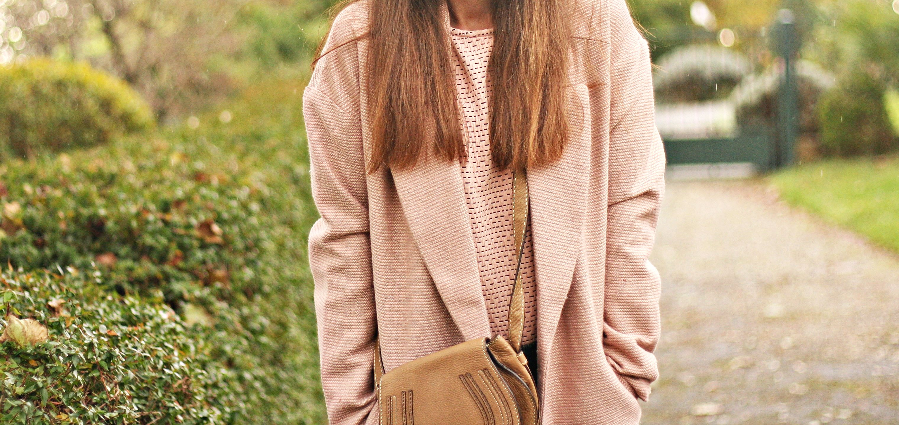 look manteau rose blog mode street style rose pale
