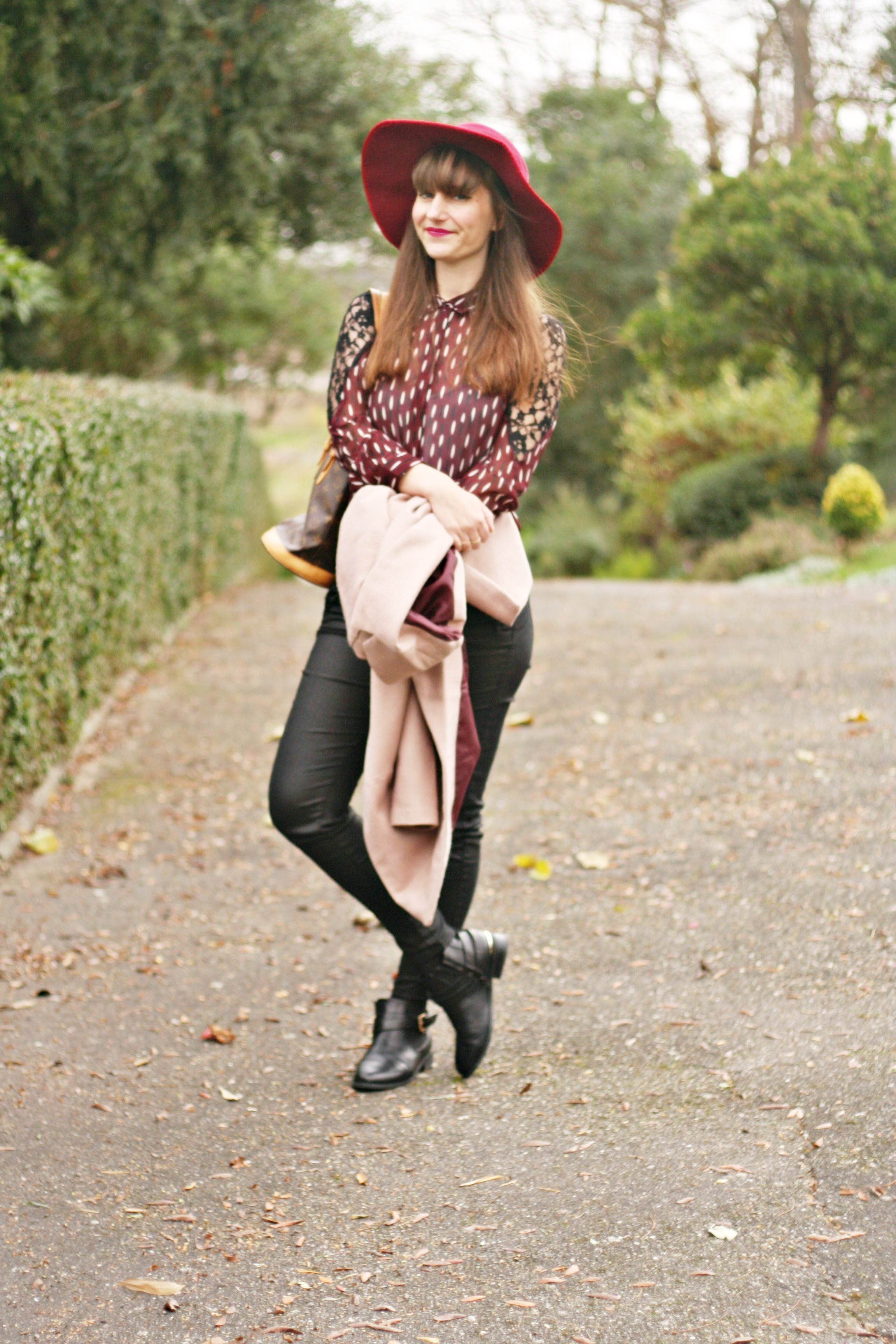 street style capeline chemise prune vero moda blog mode femme louis vuitton
