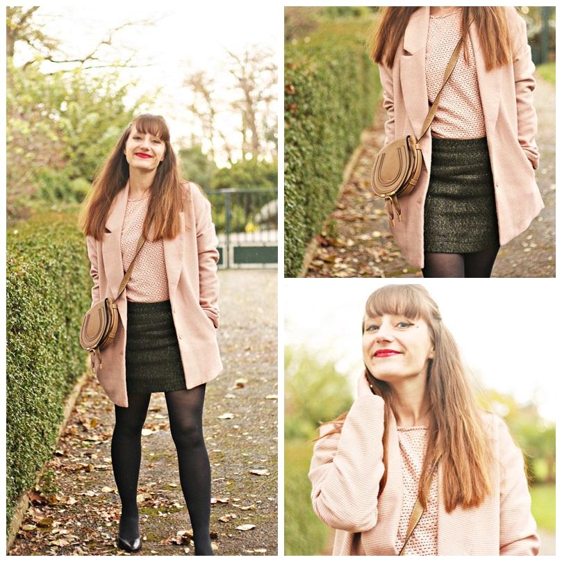 look manteau rose vintage sac chloé marcie