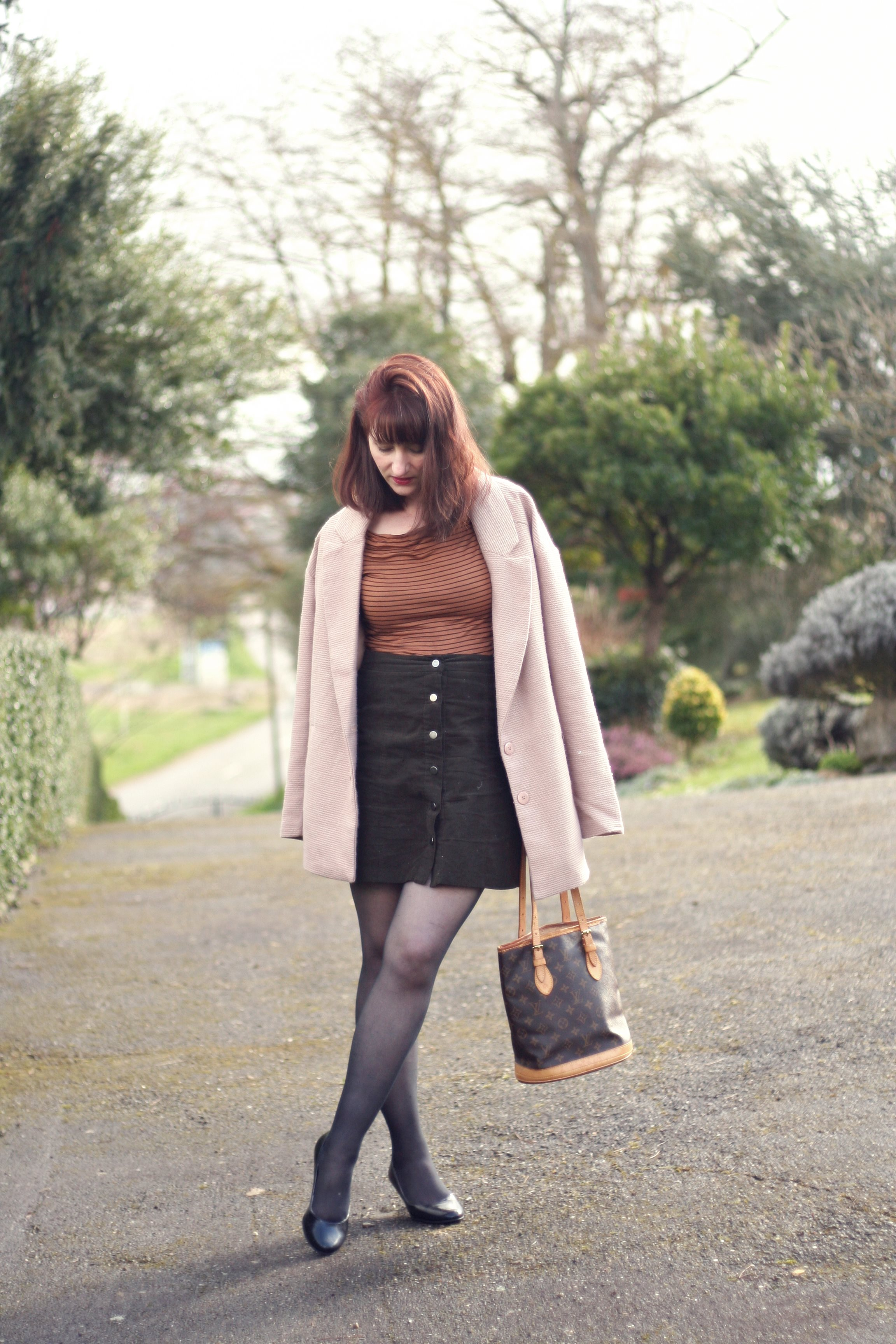 look-style-70-marron-vieux-rose-louisvuitton-vintage-danielwellington-newlook-jupebouton