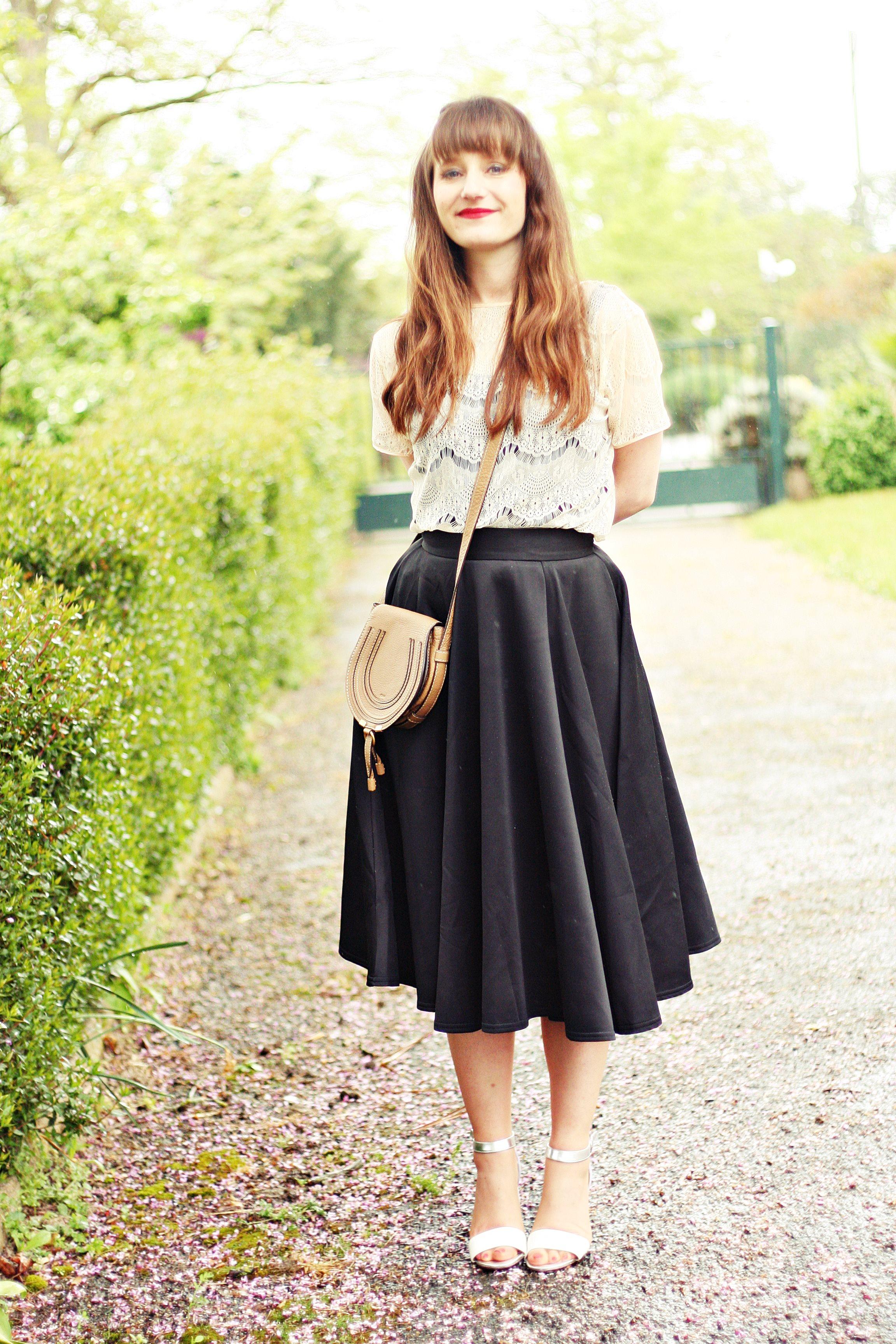 jupe évasée mi longue blog mode