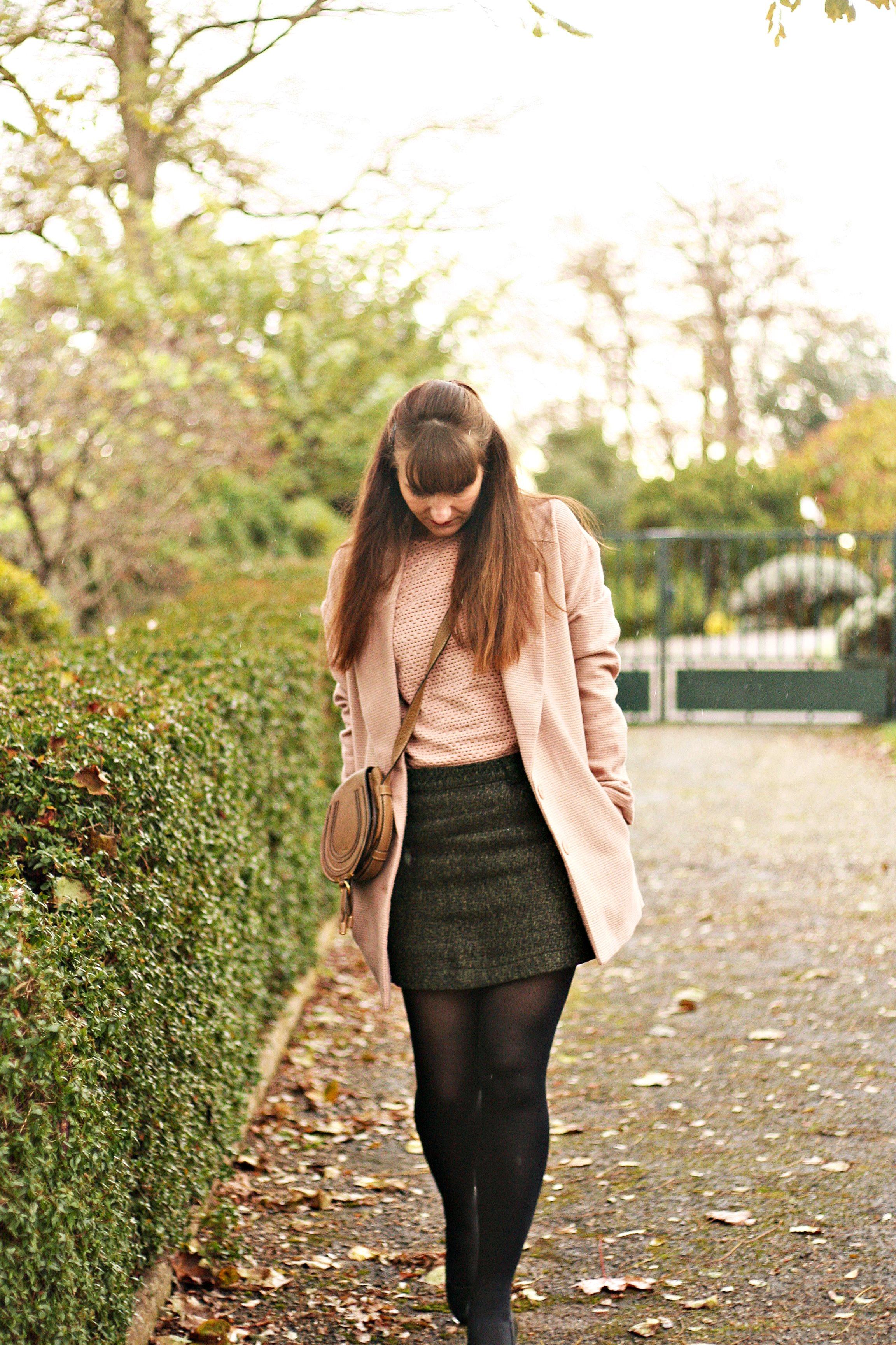 look manteau rose rose vintage blog mode