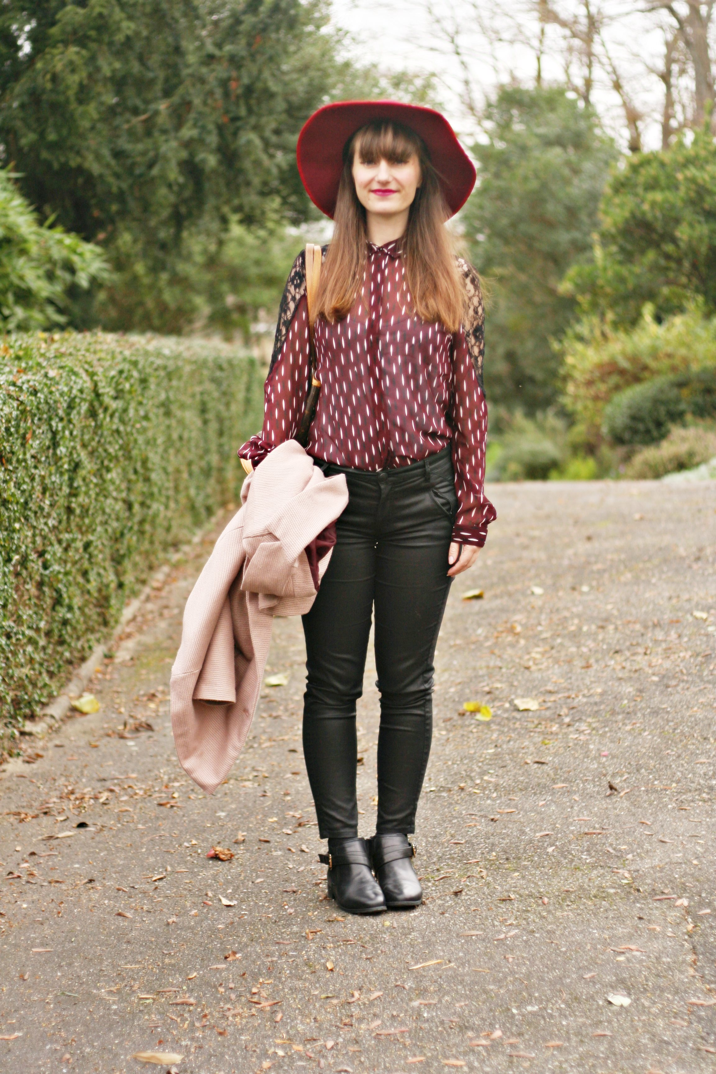 look chemise prune vero moda street style capeline vuitton