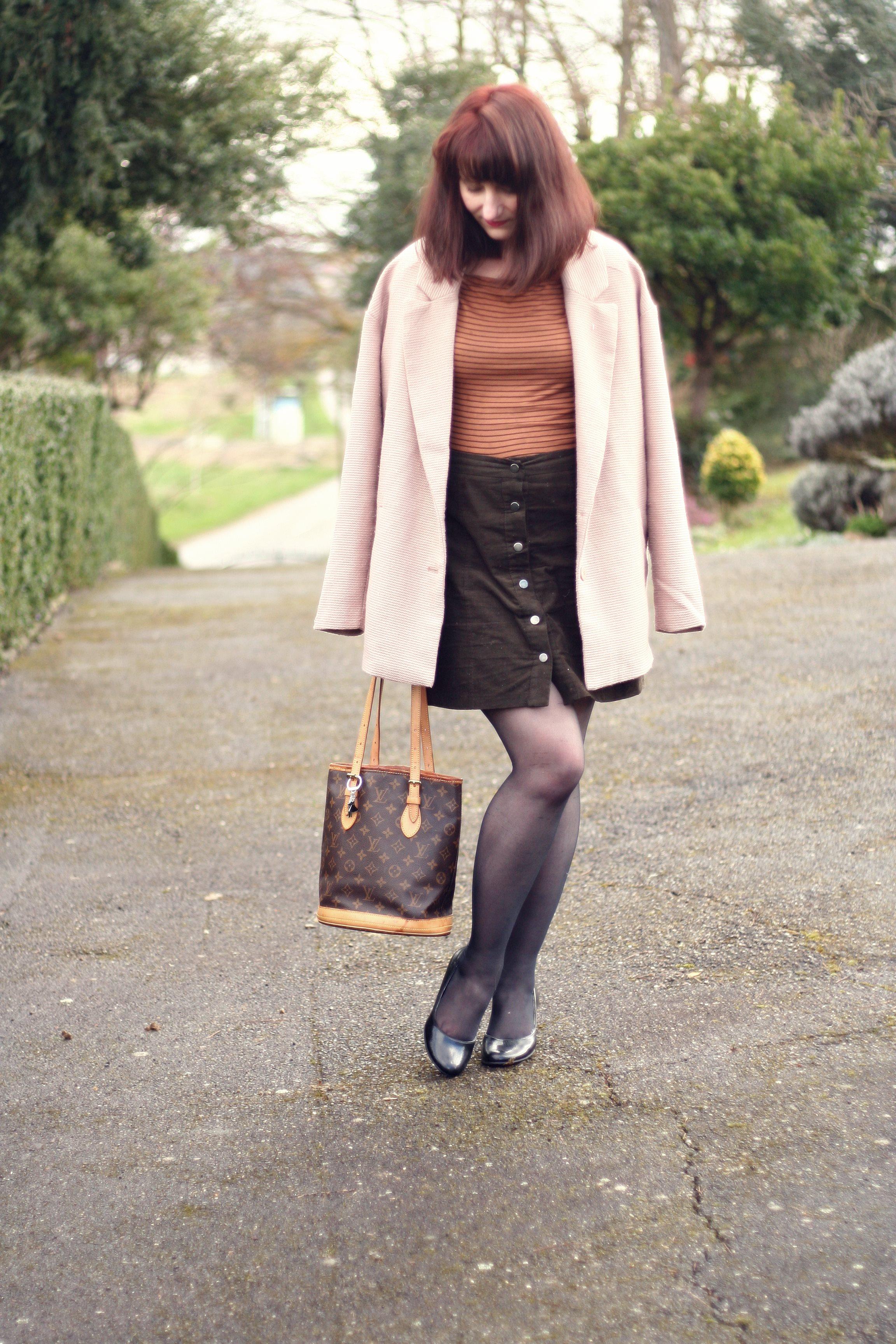 look-style-70-marron-vieux-rose-louisvuitton-vintage-danielwellington-newlook-jupebouton
